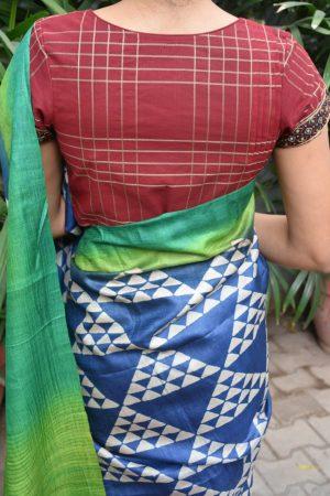 red kanchi cotton blouse back