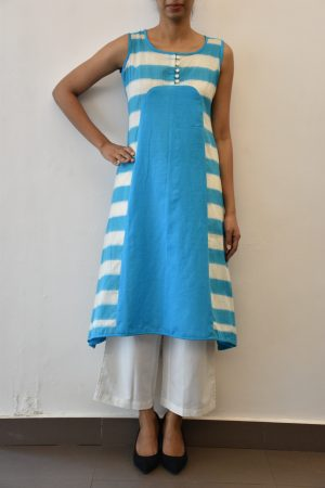 sky blue stripes ikat cotton asymmetric kurta