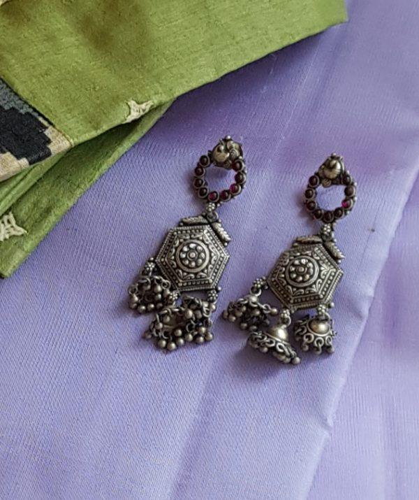 three jhumka earring silver