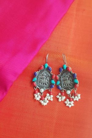 turquoise and coral silver earring