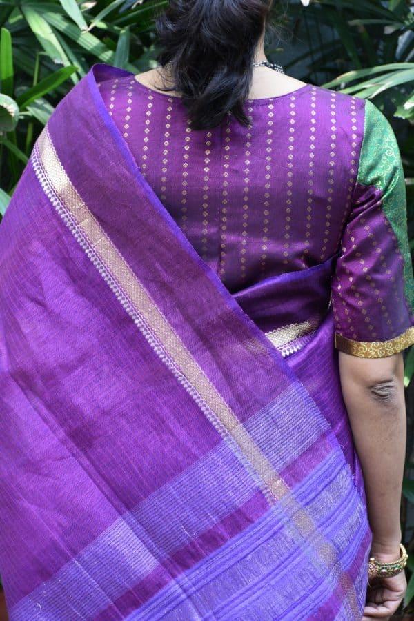 violet green kanchi silk brocade blouse back