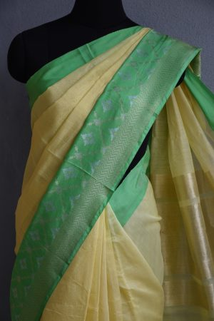 yellow chandheri saree with green zari border 3
