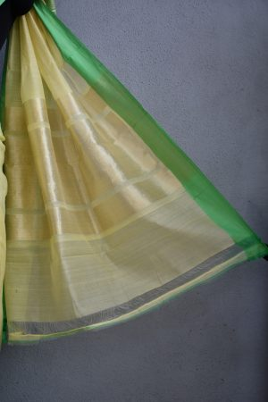 yellow chandheri saree with green zari border 4