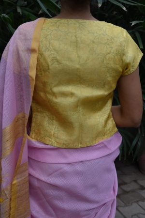 yellow organza blouse with printed lining back