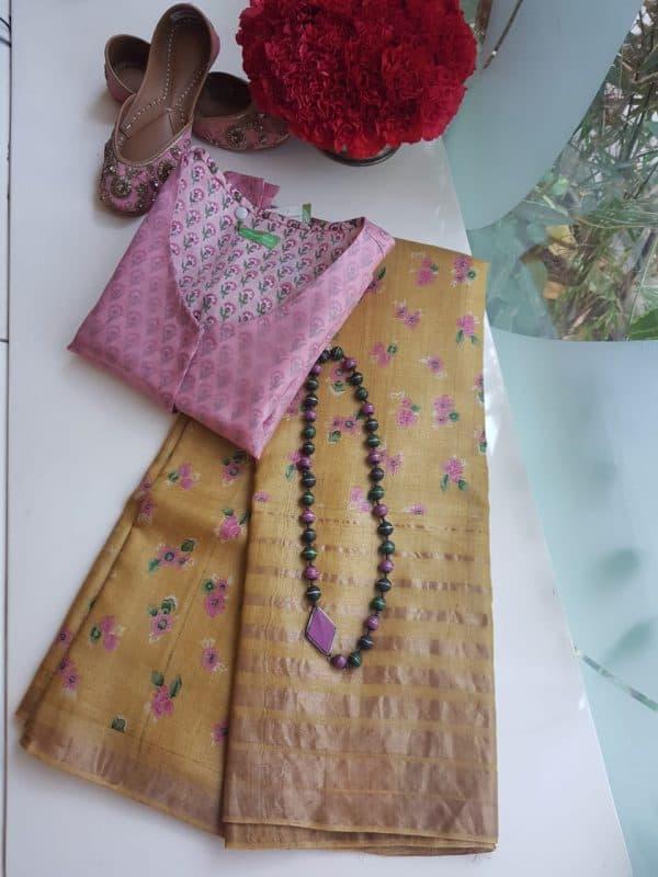 yellow zari border tussar block printed saree