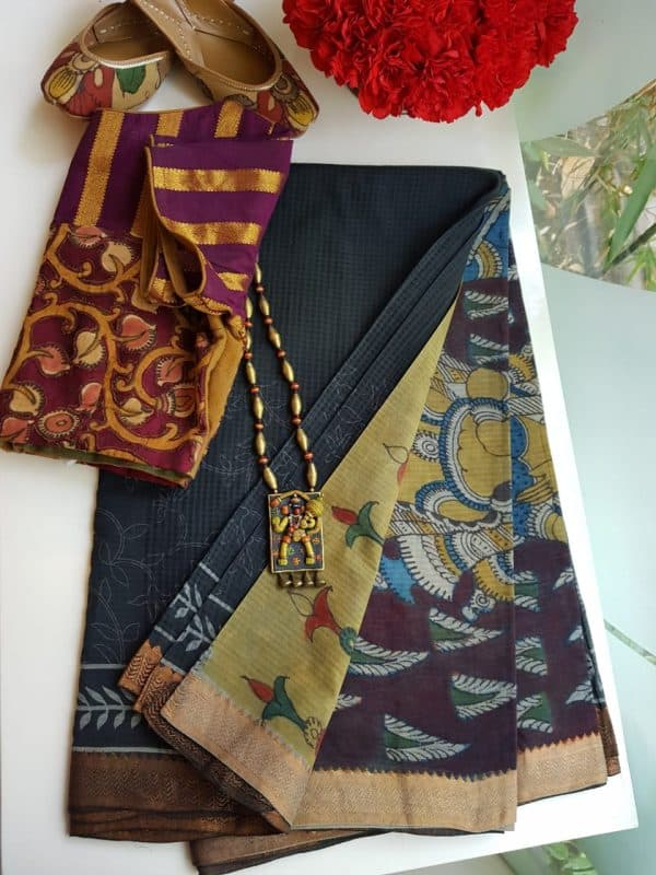 Black border print mangalgiri cotton kalamkari saree