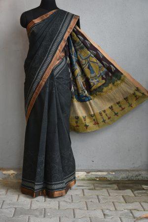 Black creeper mangalgiri kalamkari saree