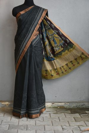 Black creeper mangalgiri kalamkari saree