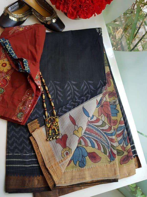 Black mangalgiri cotton kalamkari saree