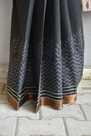 Black mangalgiri kalamkari saree 1