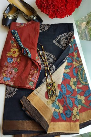 Black om print mangalgiri cotton kalamkari saree