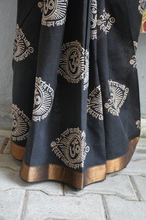 Black om print mangalgiri kalamkari saree 1