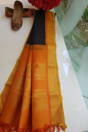 Black silk dupatta with mustard korvai border