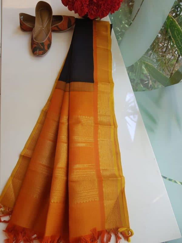 Black silk dupatta with mustard korvai border