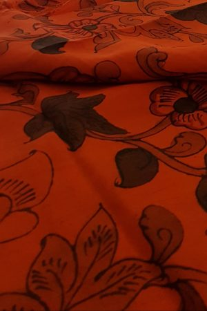Bright orange kalamkari kanchi silk fabric