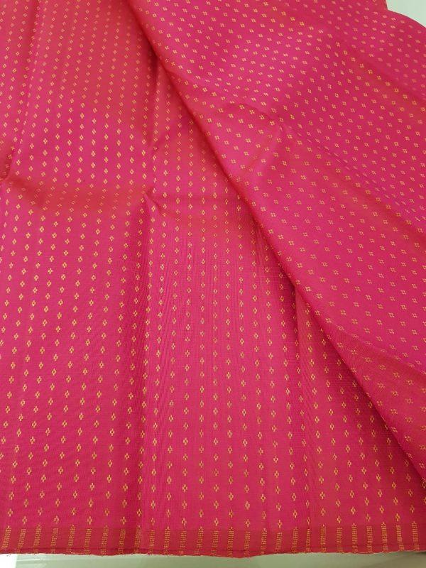 Bright pink kuyil kann kanchi silk fabric