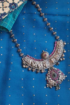 Broad pendant silver chain