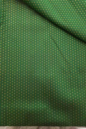 Dark green zari buttis kanchi silk fabric