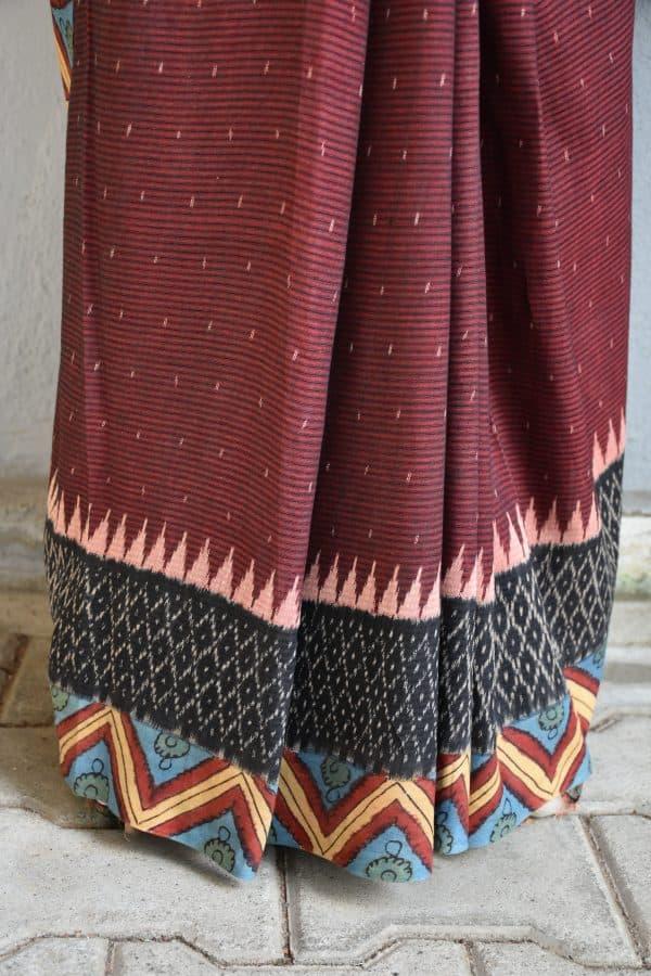 Dark maroon ikat cotton kalamkari saree 2