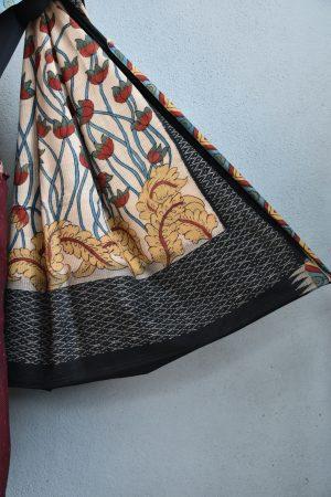 Dark maroon ikat cotton kalamkari saree 4