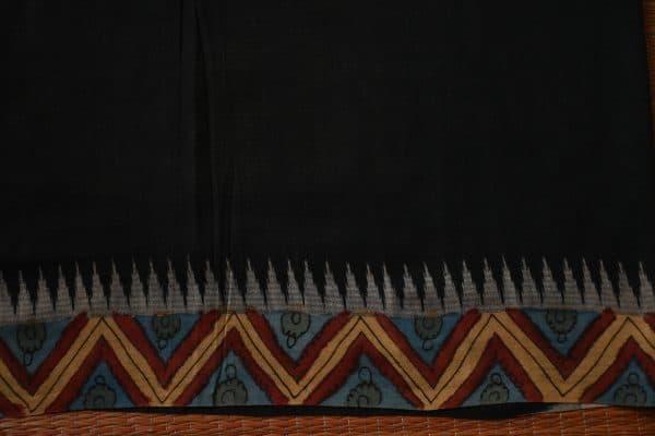 Dark maroon ikat cotton kalamkari saree 5