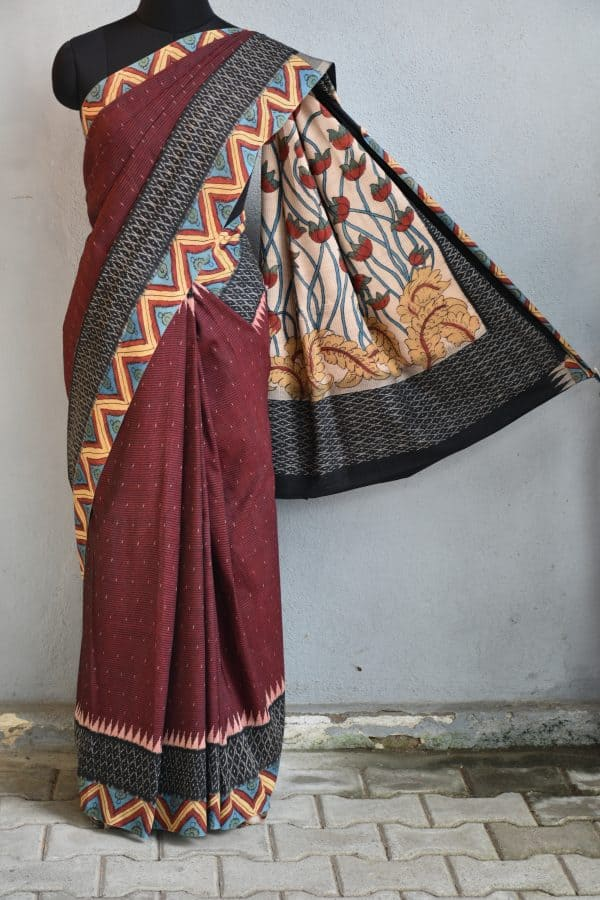 Dark maroon ikat cotton kalamkari saree