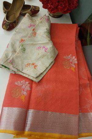 Dark peach real zari kota saree with yellow edging