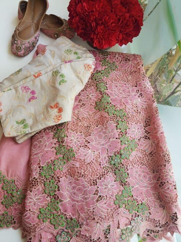 Dusty pink kancheepuram silk cutwork saree