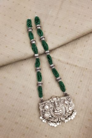 Green beads silver pendant