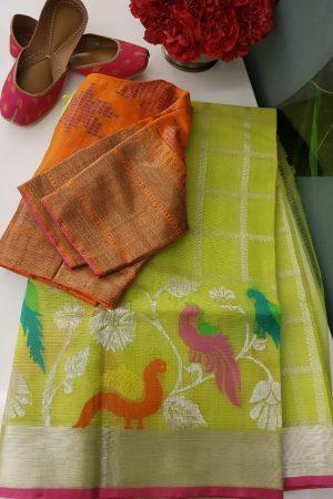 Green real zari kota saree with multicolour birds