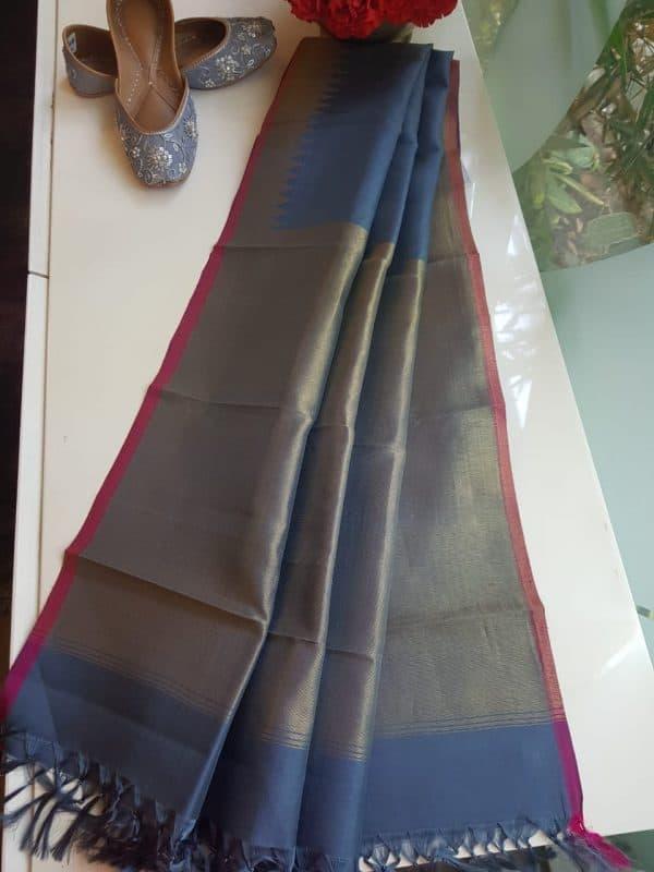 Grey kanchi silk dupatta with self border