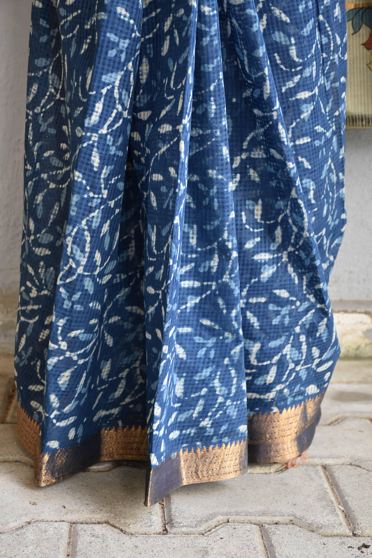 Indigo floral kalamkari saree 1