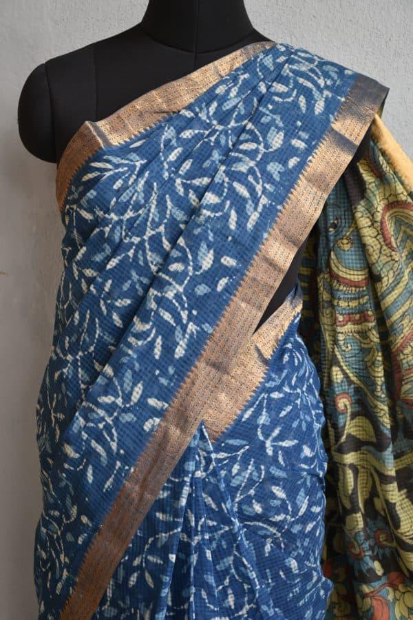Indigo floral kalamkari saree 2