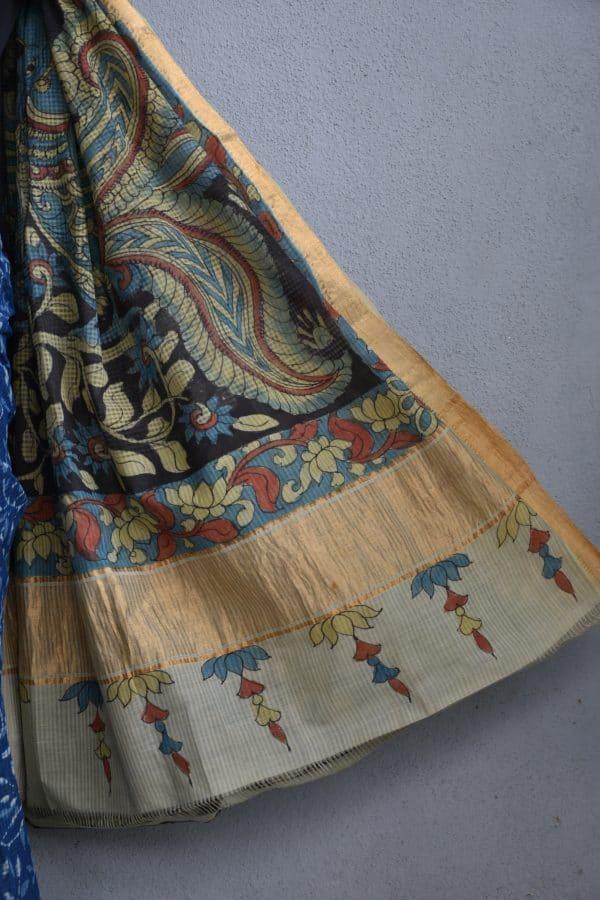Indigo floral kalamkari saree 3