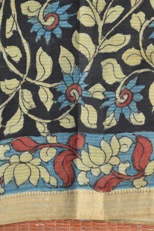 Indigo floral kalamkari saree 5