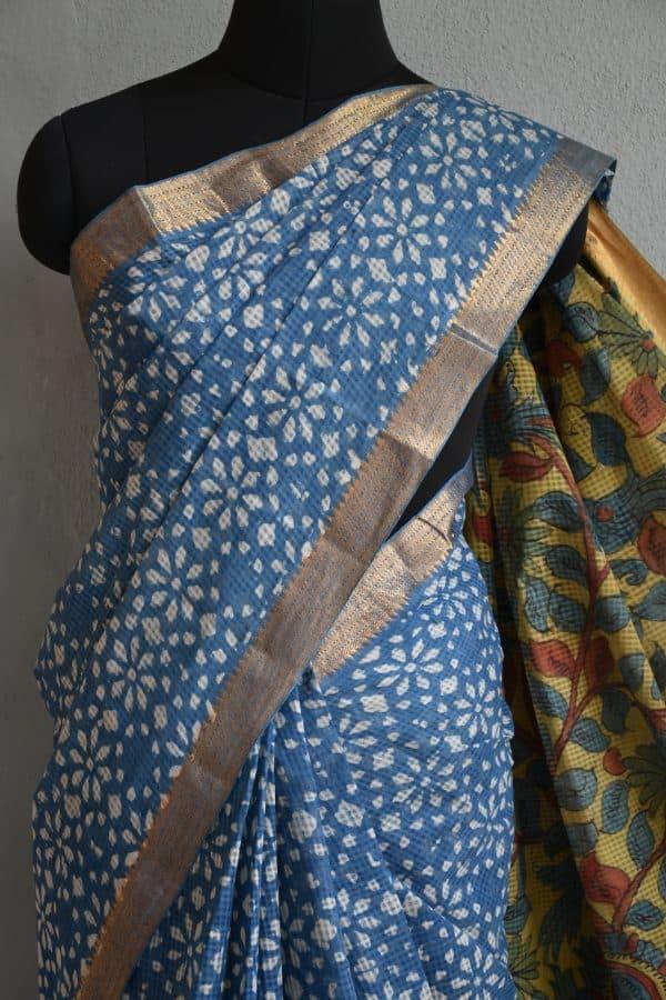 Indigo flower print kalamkari saree 2