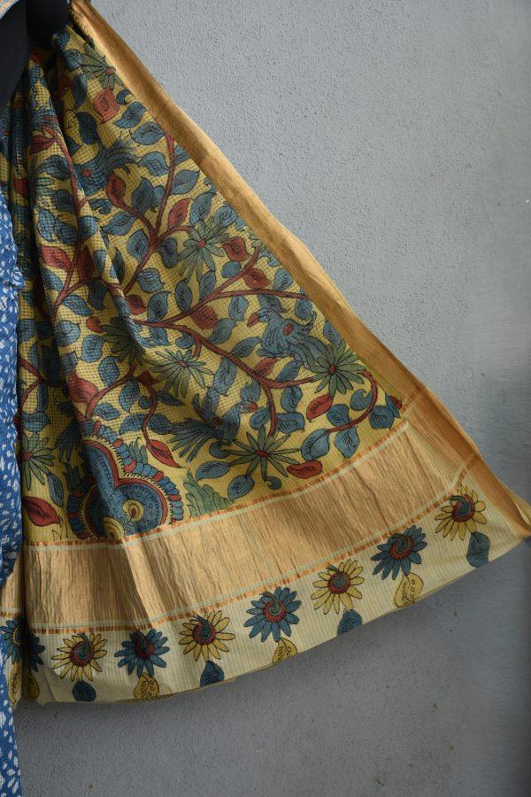 Indigo flower print kalamkari saree 3