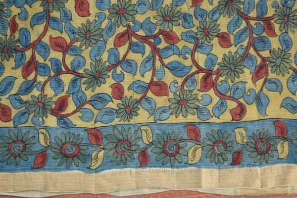 Indigo flower print kalamkari saree 4