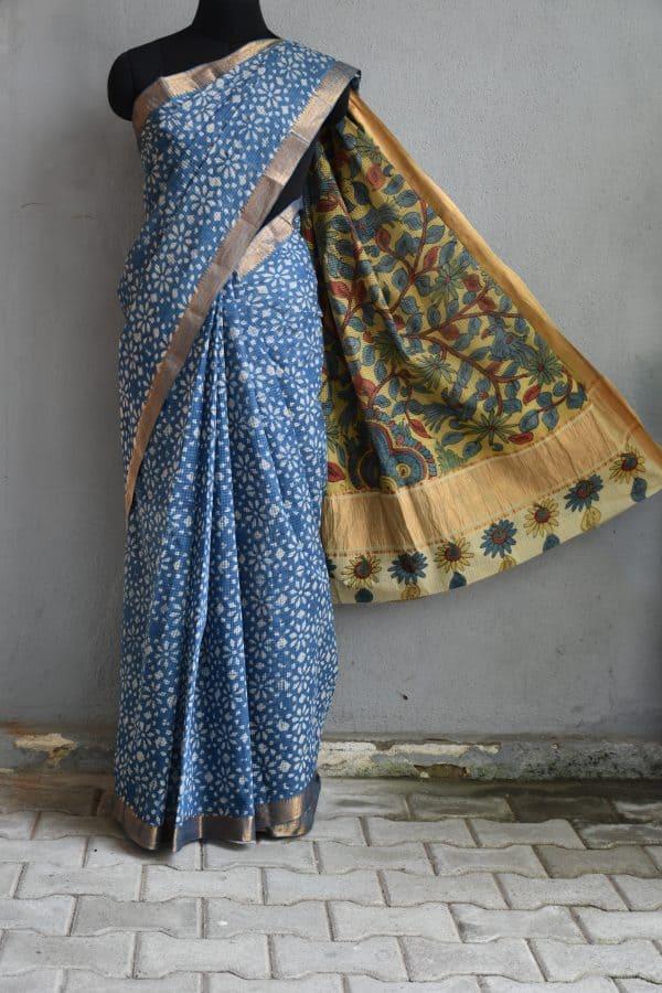 Indigo flower print kalamkari saree