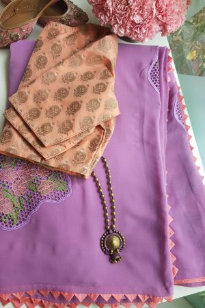 Lavendar georgette cutwork saree