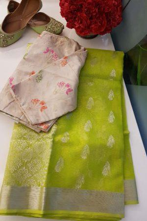 Lemon green real zari kota saree