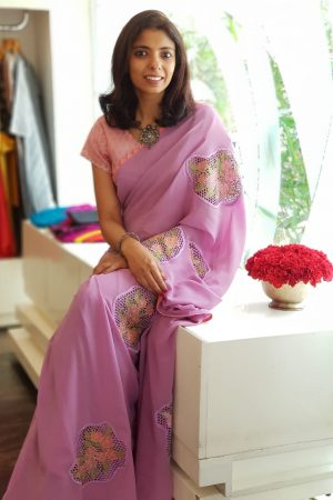 Lilac georgette cutwork saree