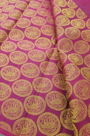 Magenta elephant design kanchi silk zari fabric