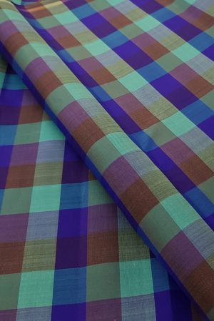 Multi blue kanchi silk checks fabric