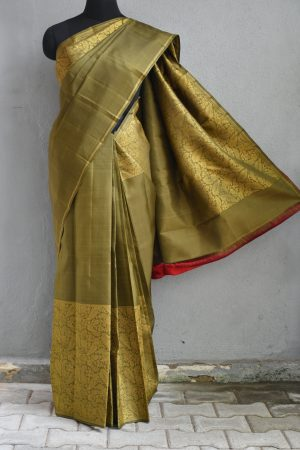 Olive green kanchi silk saree with zari 1