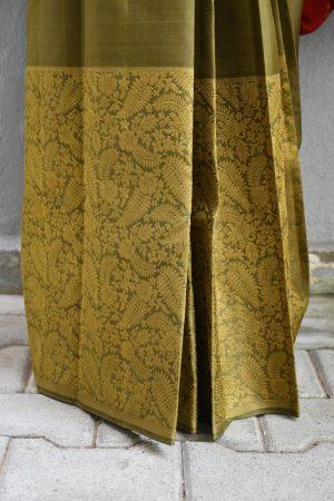 Olive green kanchi silk saree with zari 2