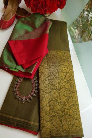Olive green kanchi silk saree with zari