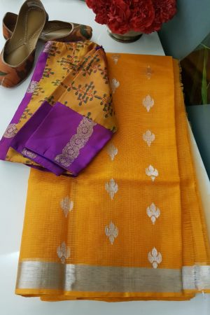 Orange real zari kota saree with silver zari