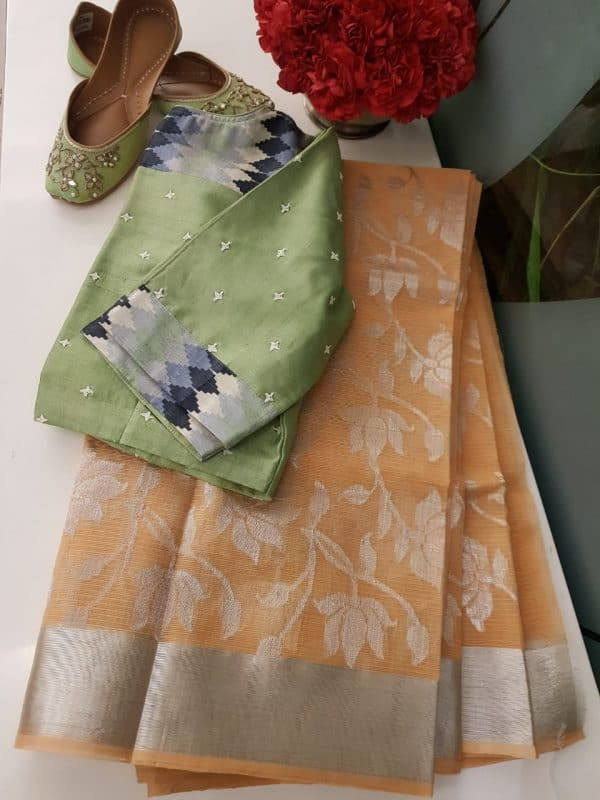 Pale peach real zari kota saree with silver zari