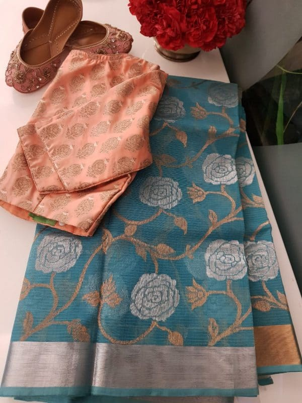 Peacock blue real zari kota saree with floral design